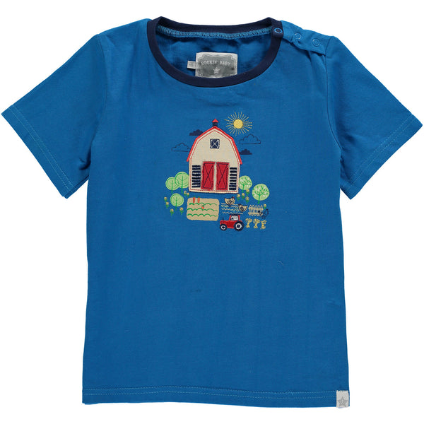 Baby and Boy By the Barn Blue Short Sleeve Tee