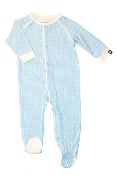 Bamboo Baby Blue Tiny Stars Footed Sleeper - 6/12 months,Sleepers,Sweet Bamboo-The Little Clothing Company