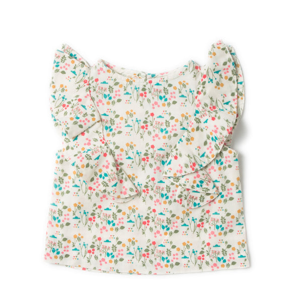 Botanical Floral Girl Ruffle Front Organic Cotton Top