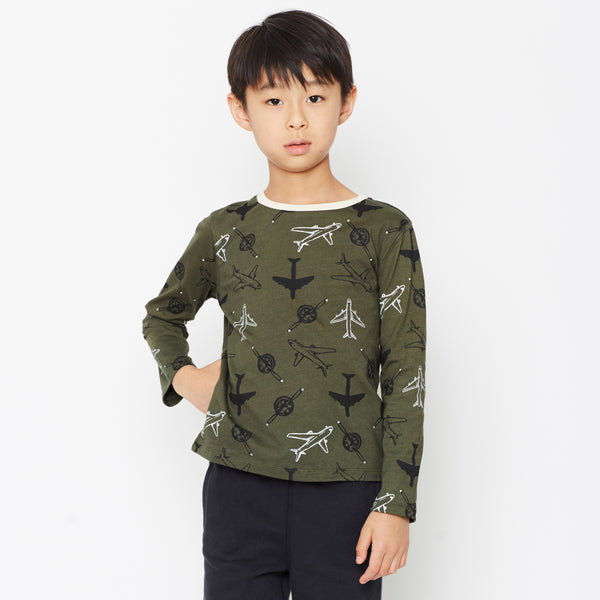 boy olive green airplane graphic tee