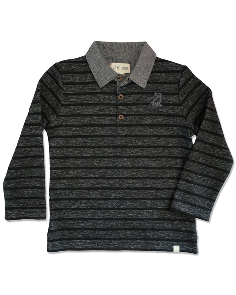 Boy's Black & Gray Stripe Long Sleeve Rugby Polo Shirt,Shirts,Me and Henry-The Little Clothing Company