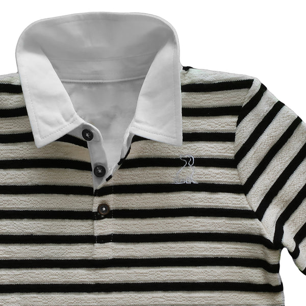 Boy's Black & Cream Stripe French Terry Long Sleeve Polo Shirt,Shirts,Me and Henry-The Little Clothing Company