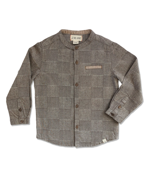 boys brown houndstooth dress shirt