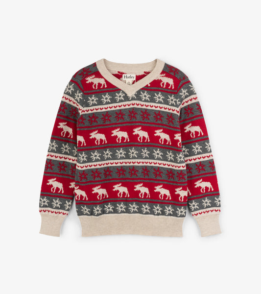 Holiday Moose Fair Isle Boy's Sweater,Shirts,Hatley-The Little Clothing Company