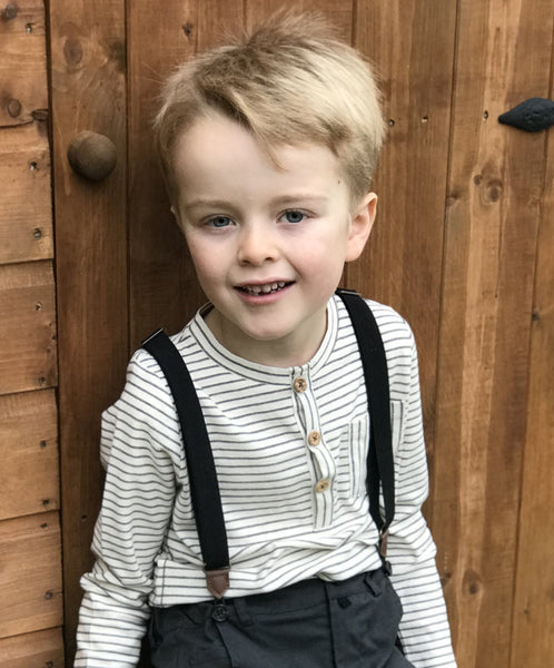 Boy's Ecru Stripe Cotton Long Sleeve Henley,Shirts,Me and Henry-The Little Clothing Company