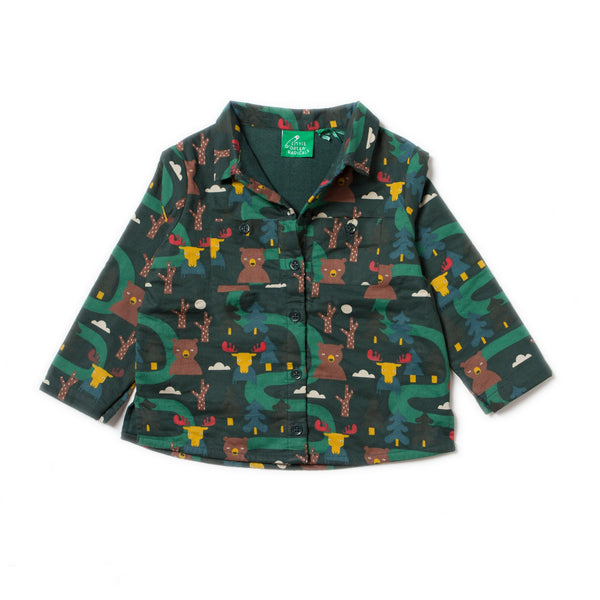 boy green forest bear moose print collared shirt