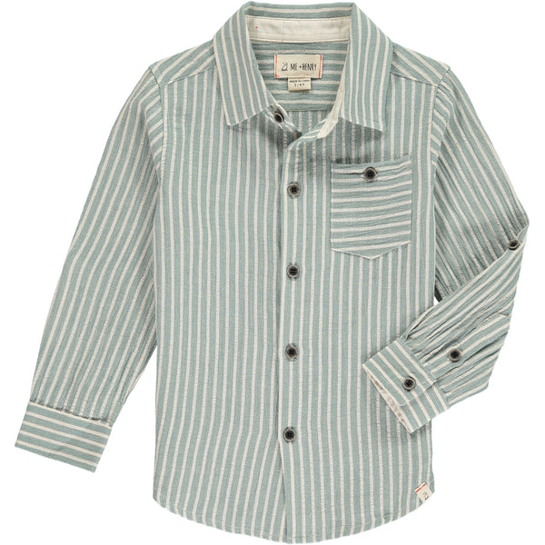 Boy's Woven Green Stripe Button Up Shirt