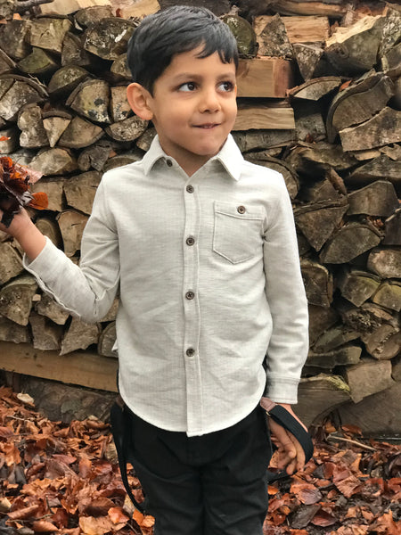 Boy's Gray Jersey Button Up Shirt,Shirts,Me and Henry-The Little Clothing Company