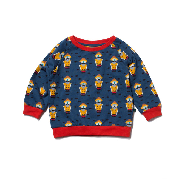 boy fisherman sweatshirt navy red yellow
