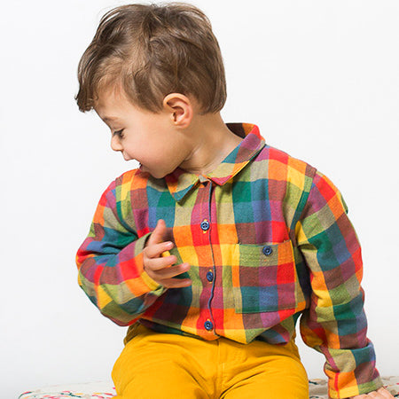 Boy's Autumn Harvest Plaid Long Sleeve Flannel Shirt - 4T,Shirts,Little Green Radicals-The Little Clothing Company