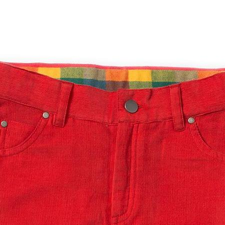 boy red corduroy pants waist details