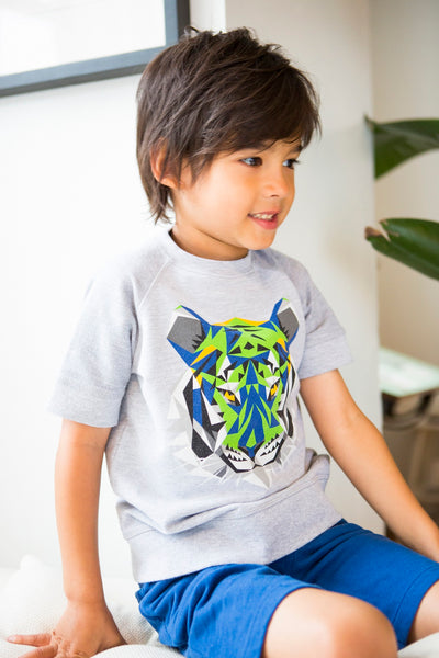 Fierce Tiger Short Sleeve Crew Neck Sweater,Shirts,Art & Eden-The Little Clothing Company