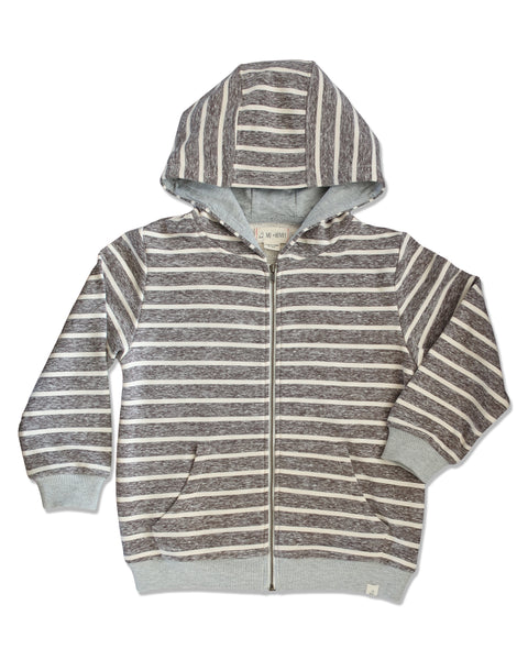 boy beige striped hooded sweatshirt