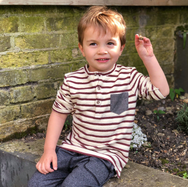 Boy's Burgundy and Cream Stripe French Terry Long Sleeve Henley - 5T,Shirts,Me and Henry-The Little Clothing Company