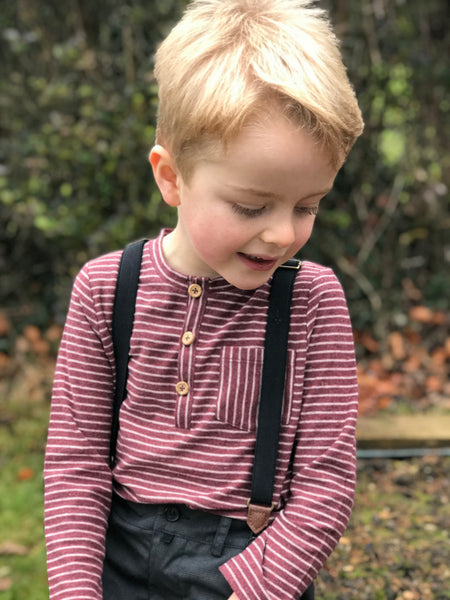 Boy's Burgundy Stripe Cotton Henley,Shirts,Me and Henry-The Little Clothing Company