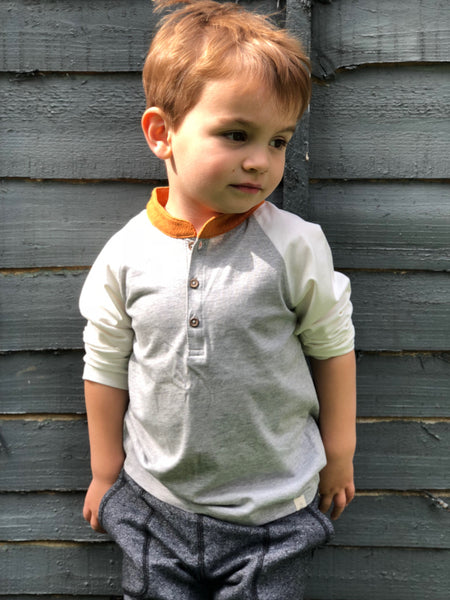 Boy's Orange and Gray Long Sleeve Raglan Henley,Shirts,Me and Henry-The Little Clothing Company