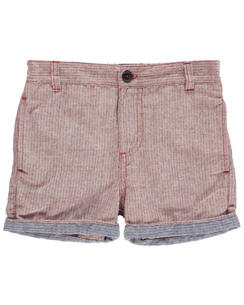 Boy's Red Stripe Roll Up Shorts,Bottoms,Me and Henry-The Little Clothing Company