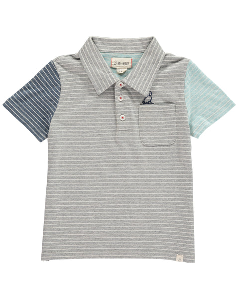 Boy's Gray and Blue Stripe Polo