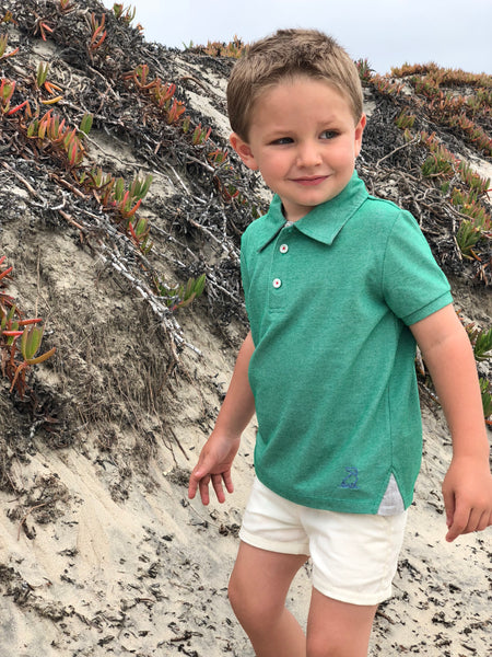 Boy's Green Pique Polo,Shirts,Me and Henry-The Little Clothing Company