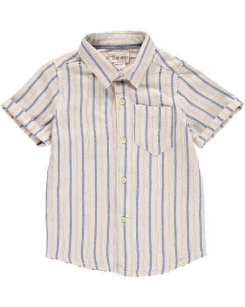 Boy's Blue and Red Stripe Woven Button Up,Shirts,Me and Henry-The Little Clothing Company