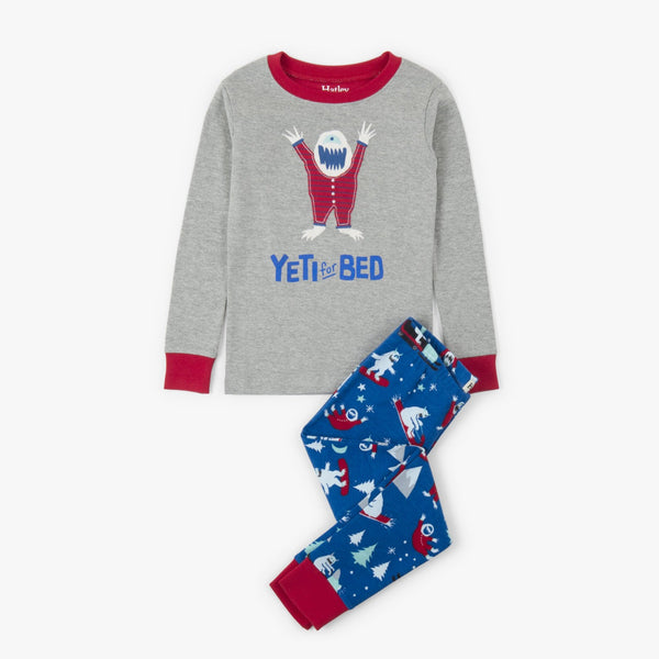 boy yeti pajamas gray top blue monster bottoms