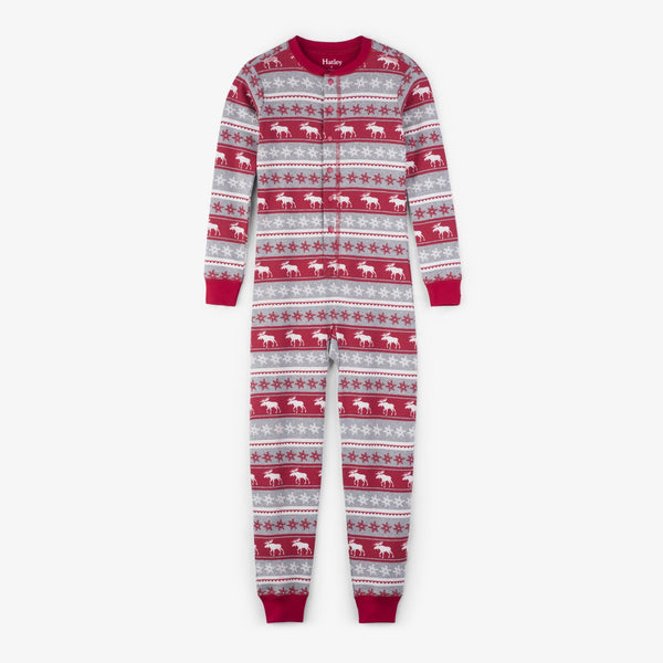 Holiday Moose Fair Isle Footless Onesie Pajamas,Pajamas,Hatley-The Little Clothing Company