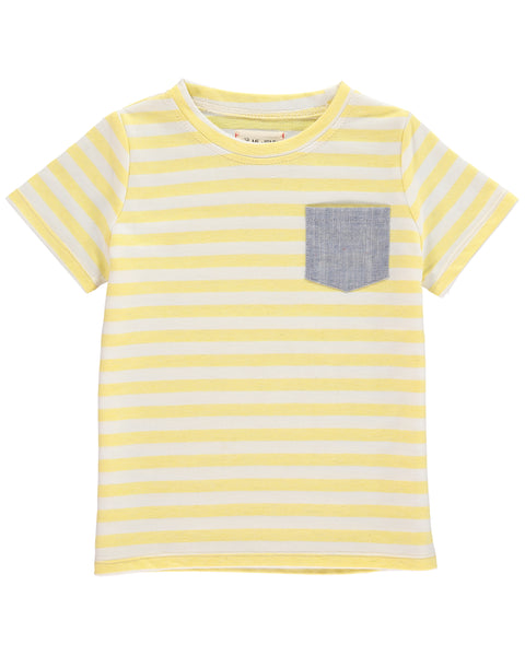 Boy's Yellow Stripe Cotton Pocket Tee,Shirts,Me and Henry-The Little Clothing Company