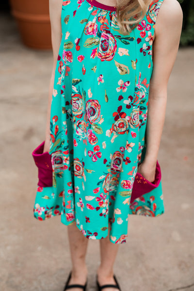 Turquoise Floral Blossom Pocket Swing Dress