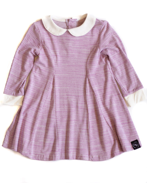 Bamboo Baby & Girl Purple Lines Peter Pan Collar Dress,Dresses,Sweet Bamboo-The Little Clothing Company