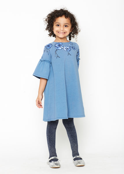 Blue Floral Girl's Applique Bell Sleeve Dress,Dresses,Art & Eden-The Little Clothing Company