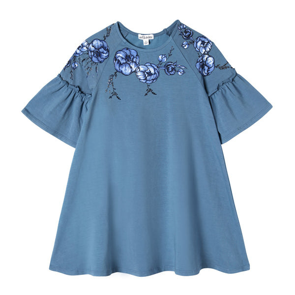 girl blue bell sleeve floral applique dress