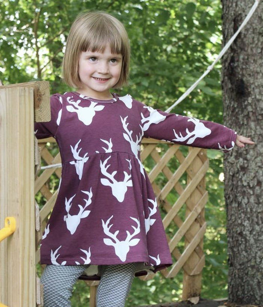 Girl's Burgundy Holiday Deer Dress,Dresses,Looking Glass-The Little Clothing Company