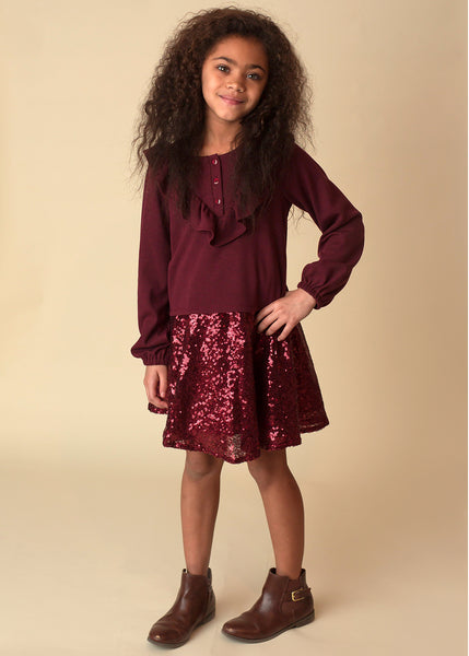 Girl's Burgundy Sequin Skirt and Ruffle Long Sleeve Top - 2 Piece Set