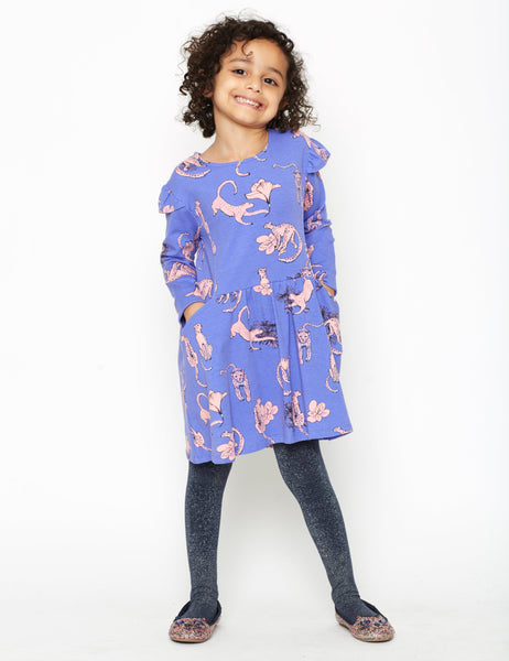 Girl's Snow Leopard Organic Cotton Dress,Dresses,Art & Eden-The Little Clothing Company