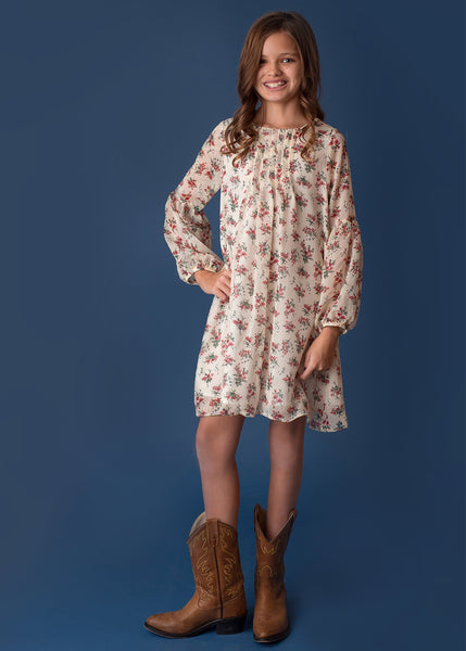 Girl's Floral Sheer Sleeve Dress,Dresses,Mabel + Honey-The Little Clothing Company