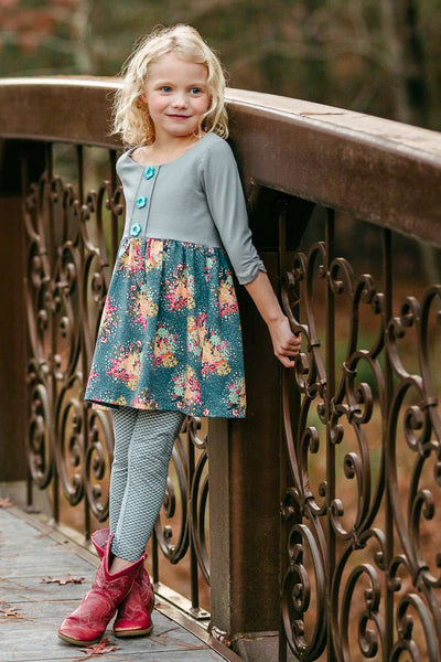 Bouquet Girl's Gray and Floral Dress,Dresses,Looking Glass-The Little Clothing Company