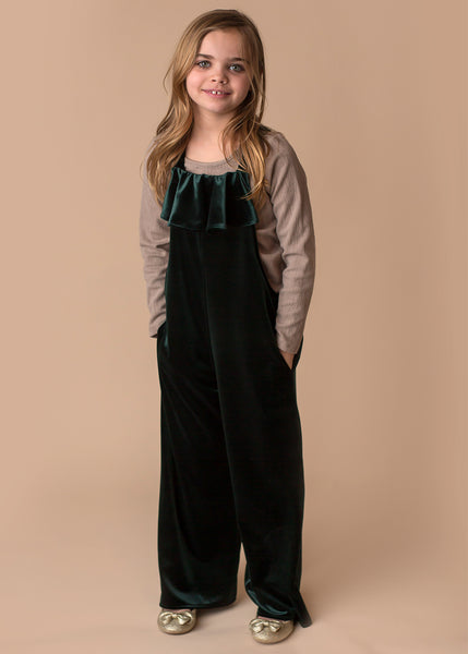 Girl's Green Velour Ruffle Jumpsuit and Shirt - 4T