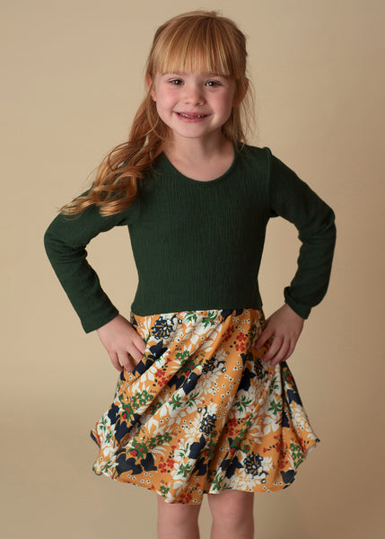 Girl's Green and Gold Moonlight Meadow Long Sleeve Dress - 3T,Dresses,Mabel + Honey-The Little Clothing Company
