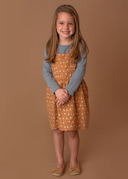 Girl's Mustard Print Jumper & Blue Long Sleeve - Two Piece Set,Dresses,Mabel + Honey-The Little Clothing Company