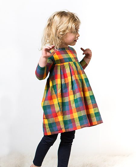 girl plaid flannel dress long sleeve gold red green blue