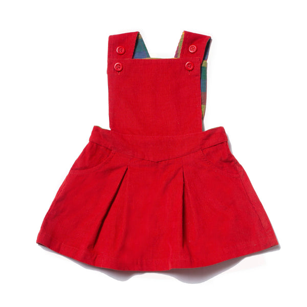 Red Corduroy Girl's Pinafore Dress,Dresses,Little Green Radicals-The Little Clothing Company