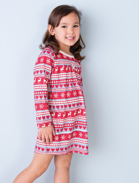 Red Deer Fair Isle Girl's Nightgown - 2T,Pajamas,Hatley-The Little Clothing Company
