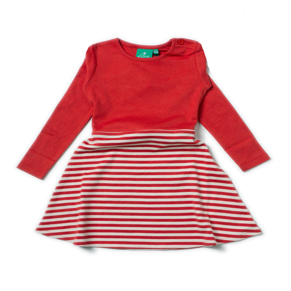 Girl's Red Stripe Organic Cotton Twirl Dress,Dresses,Little Green Radicals-The Little Clothing Company