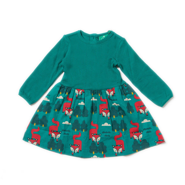 Baby and Girl Winter Fox Organic Cotton Long Sleeve Dress,Dresses,Little Green Radicals-The Little Clothing Company