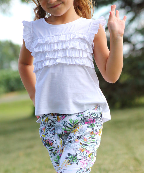 Flutter Ruffle Girls Organic Cotton Sleeveless Tank - White