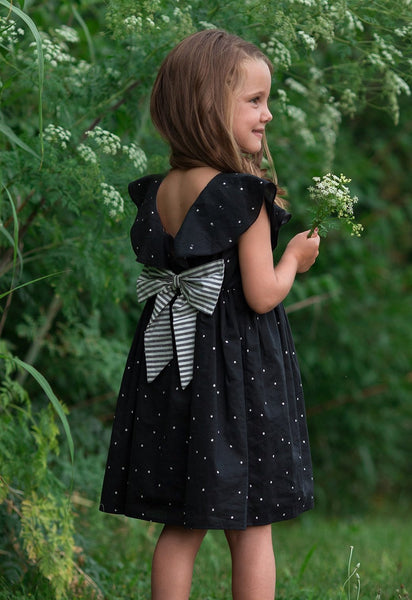 Girl's Black and White Polka Dot Bow Dress