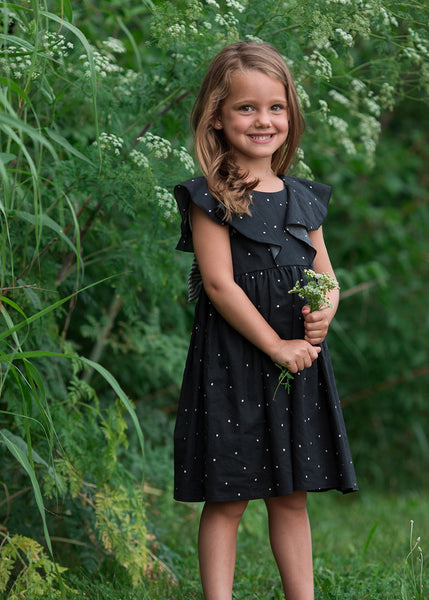 Girl's Black and White Polka Dot Bow Dress,Dresses,Mabel + Honey-The Little Clothing Company