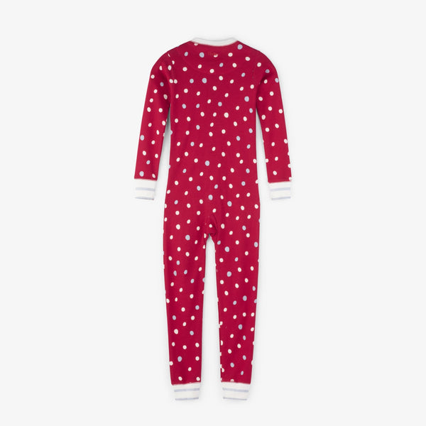 Girl's Holiday Red Metallic Polka Dot Footless Onesie Pajamas,Pajamas,Hatley-The Little Clothing Company