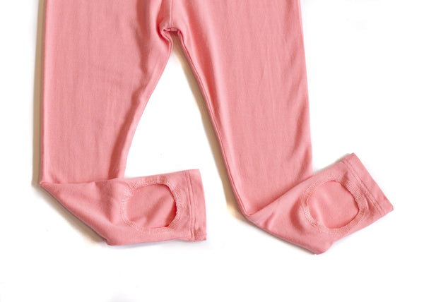 Bamboo Girl Loop Legging - Coral Pink,Bottoms,Sweet Bamboo-The Little Clothing Company