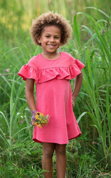 Girl's Walk in the Park Coral Ruffle Dress,Dresses,Mabel + Honey-The Little Clothing Company